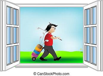 golfista, ventana, vector, ilustración