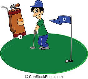 golfista, verde