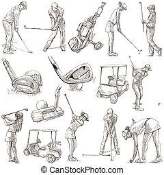 golfistas, golf, -, mano, dibujado, paquete