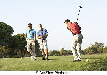 golfistas, grupo, curso, el juntar con te apagado, macho, golf