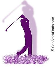 golfjátékos, fű