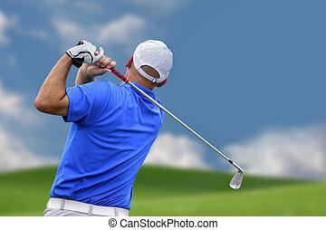 golfjátékos, lövés, egy, golf labda