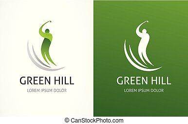 golfklubb, symbol, ikon, logo, element