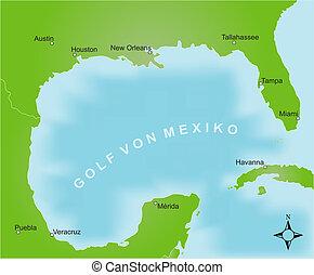 golfo, mapa de méxico, -