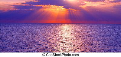 golfo messico, tramonto