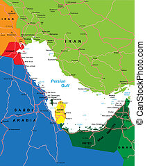 golfo, persa, región, mapa
