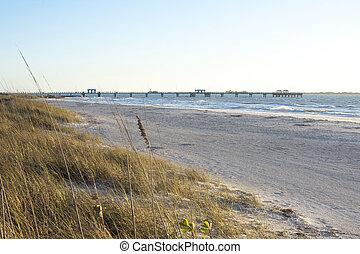 golfo, playa, pesca, desoto, muelle, fortaleza