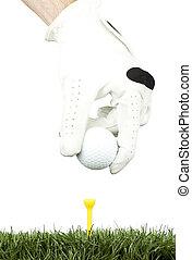 golfowa piłka, w, przedimek określony przed rzeczownikami, trójnik