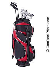 golfowa torba, i, kluby, odizolowany