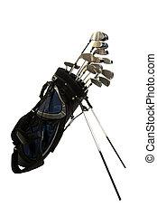 golfowe kluby, na białym