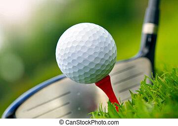 golfowy klub, i, piłka, w, trawa