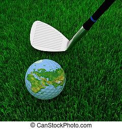 golfowy klub, kula, zielone tło, trawa