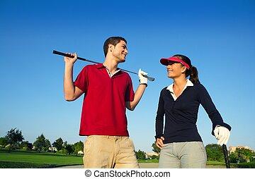 golfpálya, párosít, játékosok, fiatal, beszéd, boldog