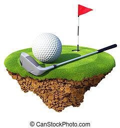 golfspel club, bal, flagstick, en, gat, gebaseerd, op, weinig; niet zo(veel), planeet