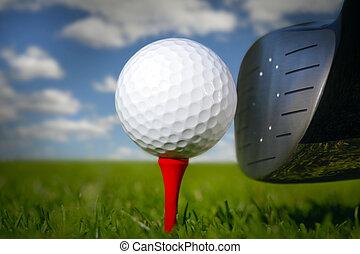 golfspel club, en, bal, in, gras