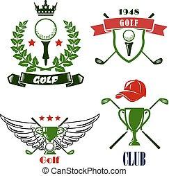 golfspel club, heraldisch, toernooi, emblems, of