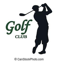 golfspel club, -, illustratie, meldingsbord, vector
