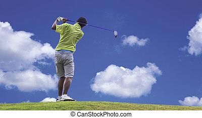 golfspelare, boll, golf, skjutning