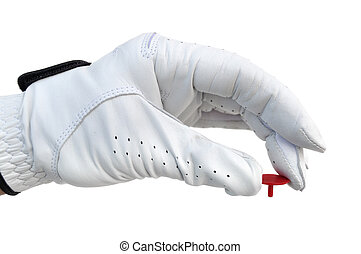 golfspelare, holdingen, a, boll, markör