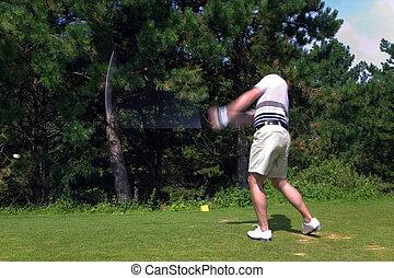 golfspeler, grit, tee