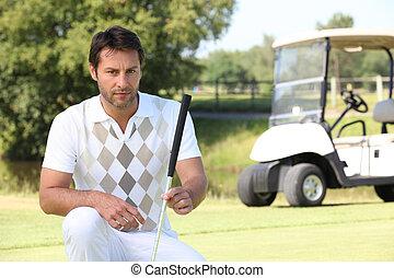 golfspeler, kijken naar, de, leugen, van, zijn, bal