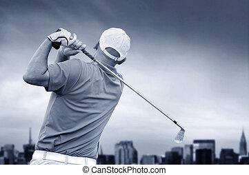 golfspeler, schietende , een, golf bal