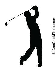 golfspeler, silhouette, -, afgewerkt, golf, sportende, tee-...