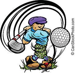 golfspeler, spotprent, bal, club, het slingeren, tee, golf