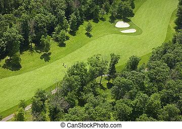 golfspieler, luftaufnahmen, fahrrinne, kurs, golfen, ansicht