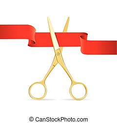 Golg Scissors Cut Red Ribbon. Vector - Golg Scissors Cut Red...