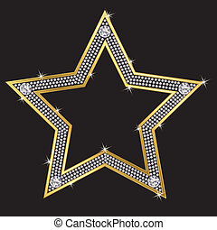 Golg star with diamonds, vector