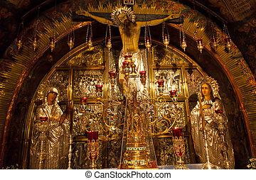 golgotha, 神聖, sepulchre., サイト, 伝統的である, jerusalem., 教会