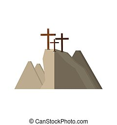 golgotha hill three crosses shadow vector illustration eps...