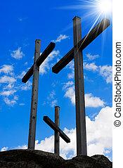 golgotha, -, tres, cruces, en, cielo azul
