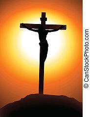 Golgotha - Vector illustration of Jesus Christ on the cross
