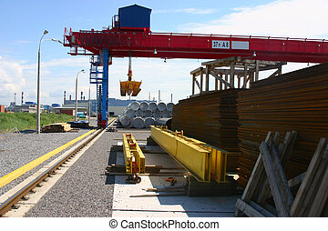 Goliath crane on the storage yard - Red, yellow and blue...