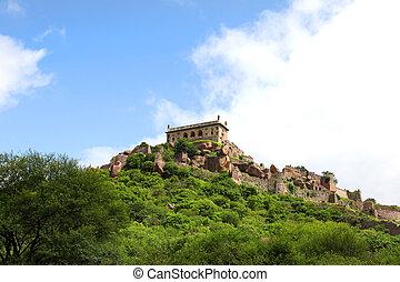 golkonda, fort, krajobraz