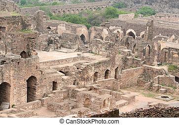 Golkonda fort - 400 year old historic Golkonda fort in India