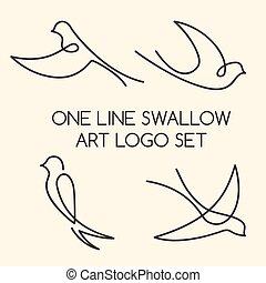 golondrina, logotipo, línea, conjunto, uno, arte