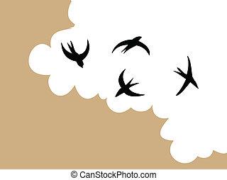 golondrinas, en, cielo, en, nublado, plano de fondo, vector, ilustración