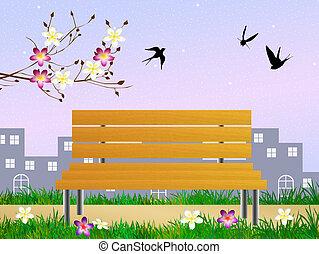 golondrinas, en, primavera