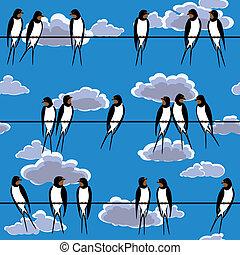 golondrinas, perched, en, un, alambre, seamless
