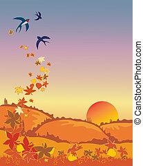 golondrinas, salida, en, otoño