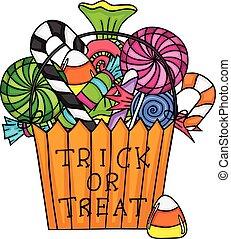 golosinas, halloween, truco, bolsa, gusto, o, llenado