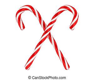 golosinas, navidad, cruzado, aislado, dos
