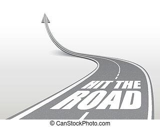golpe, a, estrada, palavras, ligado, rodovia, estrada