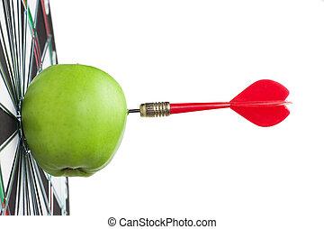 golpe, alvo, centro, dardo, maçã verde