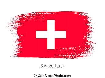 golpe, cepillo, forma, bandera suiza, funcionario