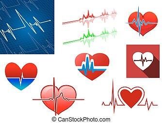 golpe, corazones, frecuencia, iconos