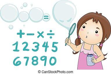golpe, ecuación, solucionar, burbujas, niña, niño